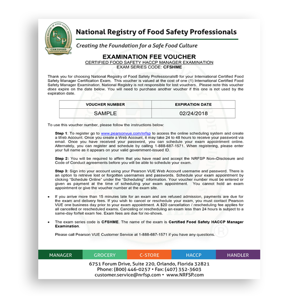 Certified Food Safety HACCP Manager Exam Voucher