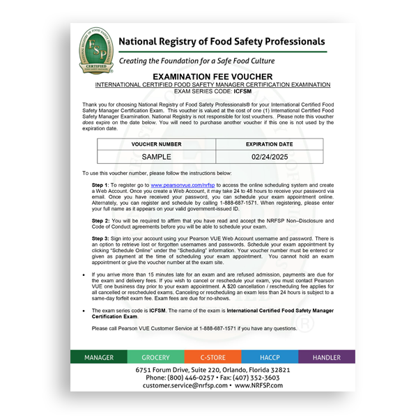 International Certified Food Safety Manager (ICFSM) Exam Voucher