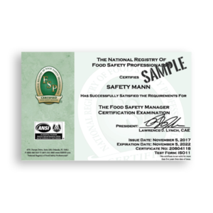 Sample Food Manager Certificate from National Registry of Food Safety Professionals